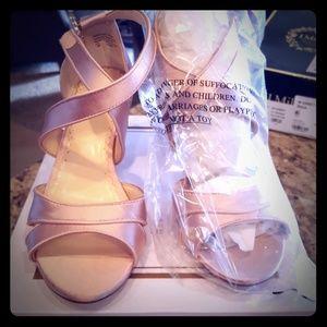Pink blush satin heels
